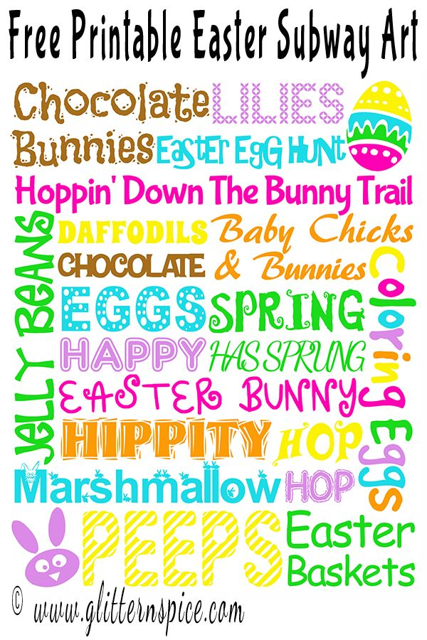 Free Printable Easter Subway Art - A Sprinkle Of Glitter, A Dash of Spice #printables #easter