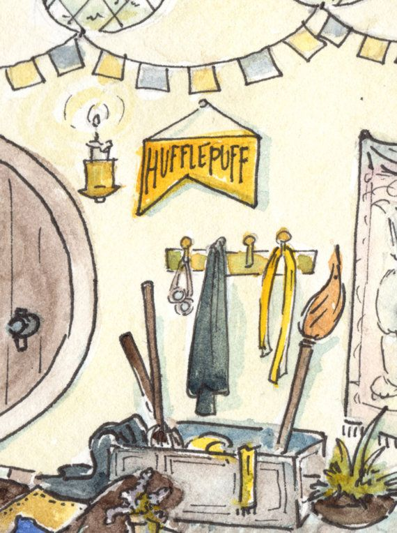 """Harry Potter Fan Art - """"Where They are Just and Loyal"""" (Hufflepuff Common Room) on Etsy, $20.00"""