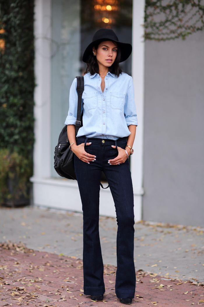 Flare Jeans & Denim Shirt