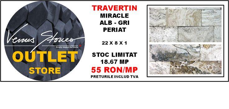 TRAVERTIN miracle alb - gri periat 22x8x1