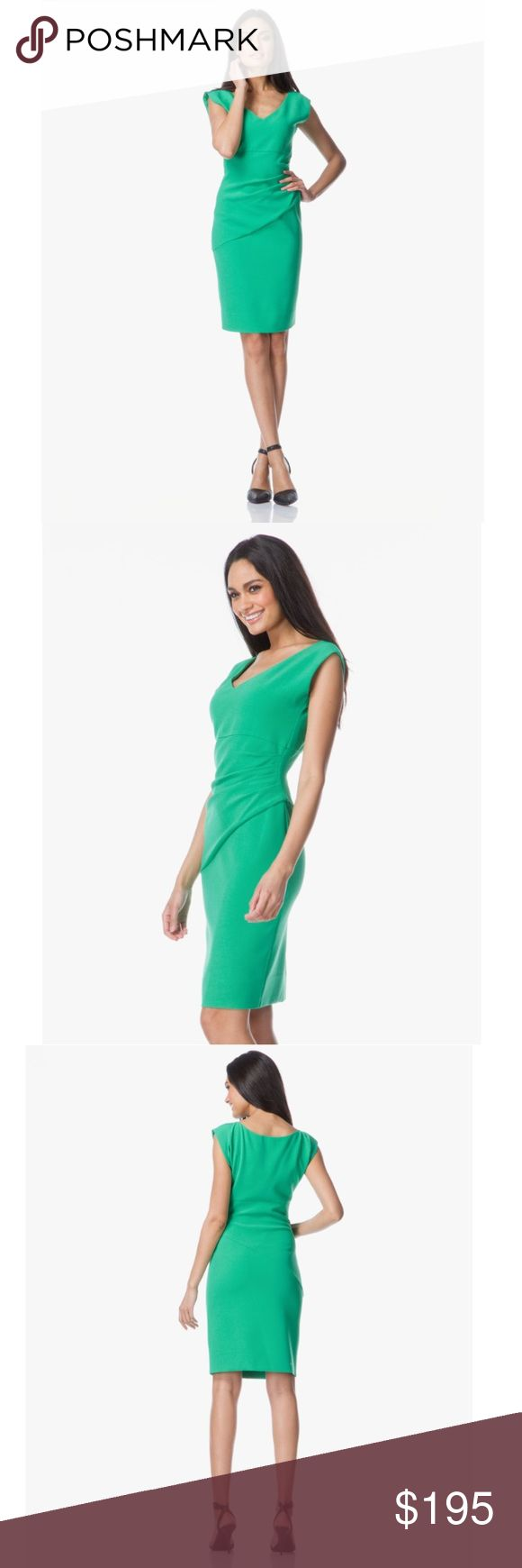 DIANE VON FURSTENBERG • BEVIN • SHEATH DRESS Sz 2 DVF!!! Eye-catching, SOLD OUT, Kelly green BEVIN sheath dress from Diane von Furstenberg. Silhouette-skimming w/ side touching for flattering effect; made in thick ponte jersey: new midweight modern stretch double cloth -holds form & flatters body. Brand new with tags!!! Note: color slightly more rich/ darker than in pics. - V-neck  - Short dolman sleeves  - Empire waist seam  - Pleating for beautiful draped effect  - Hidden side zip…