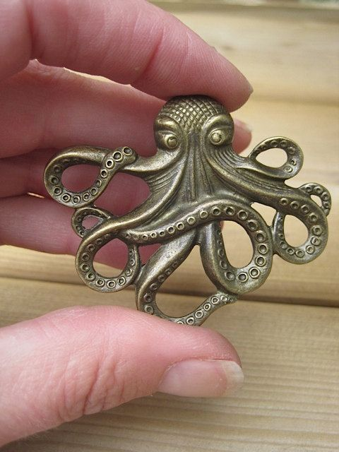 Octopus Drawer Knobs   Cabinet Knobs   Furniture Knobs In Brass Metal