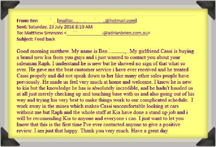 This Is The First Time I've Ever Contacted Anyone To Give A Positive Review  This month's featured customer review is courtesy of Ben and Cassi from Woodcroft who recently purchased a new car from Adrian Brien Kia.  Click here to learn more... http://adrianbriencars.com.au/blog/5630/this-is-the-first-time-ive-ever-contacted-anyone-to-give-a-positive-review/