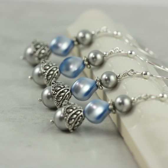 Baby Blue and Gray Pearl Earrings - perfect for a bride or her bridesmaids! #brigteam @Peg Hewitt Stradling #wedding #jewelry