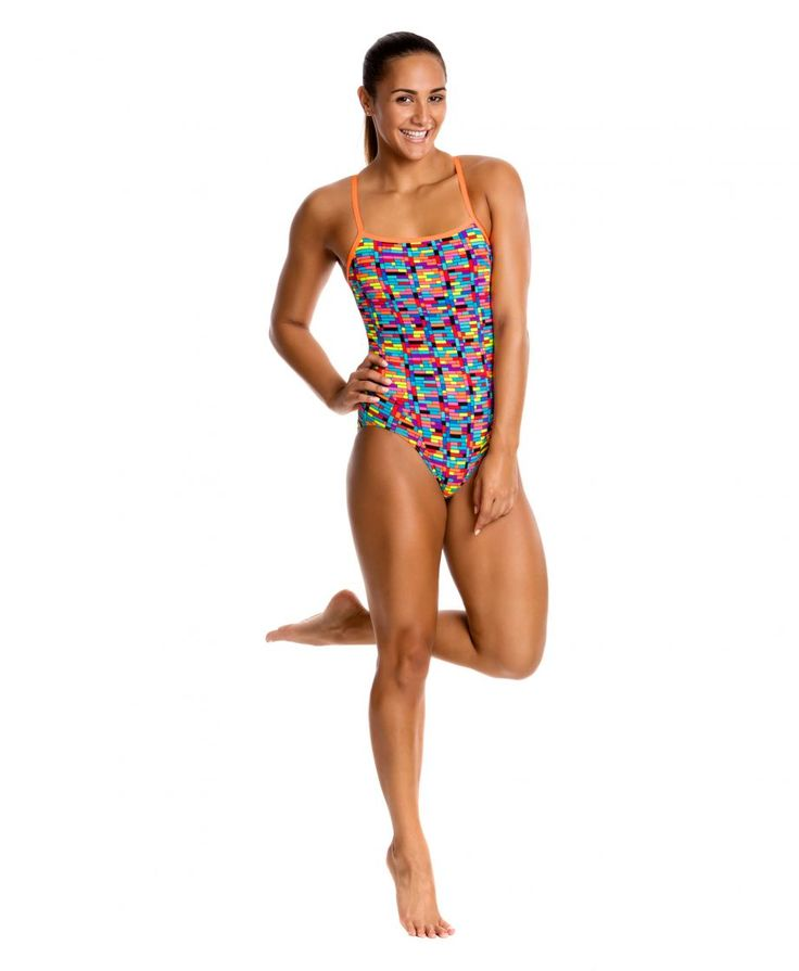 """Singles Strap one piece swimsuit Funkita """"Stacked Up"""""""
