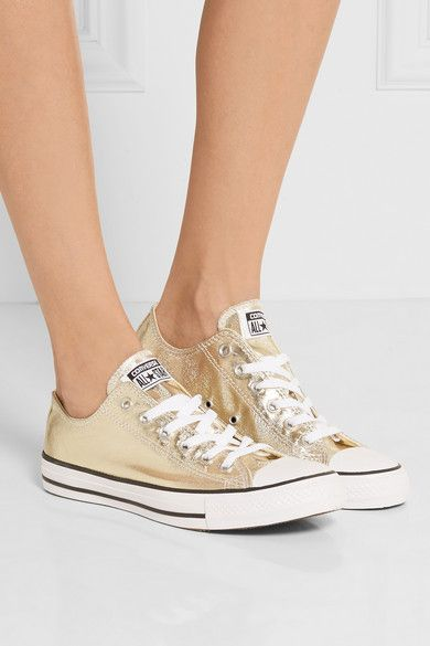 Off-white rubber sole measures approximately 25mm/ 1 inch Gold coated-canvas Lace-up front Imported