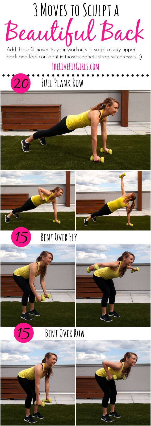 Sculpt a Beautiful Back with these three dumbbell exercises! #fitness