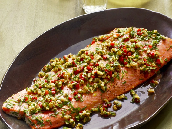 200 best food network images on pinterest food networktrisha roasted salmon with walnut pepper relish recipe food network kitchen food network forumfinder Images