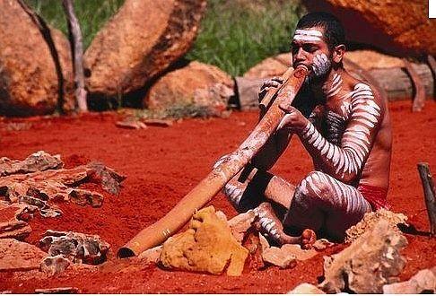 Aborigine and a digeridoo!