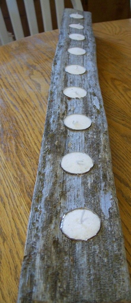 Reclaimed Cedar Fence Post Candle Holder- 9 tea lights long for your Banquet Table or Mantle