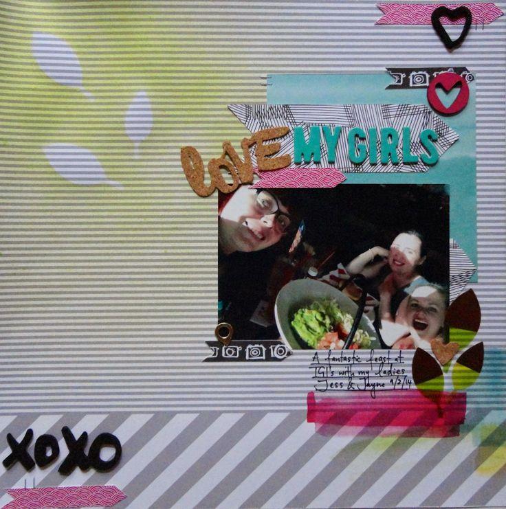 Love My Girls by Lauren Matthews, using Polly! Scrap Kits March 2014 Spearmint Leaves scrapbooking kit