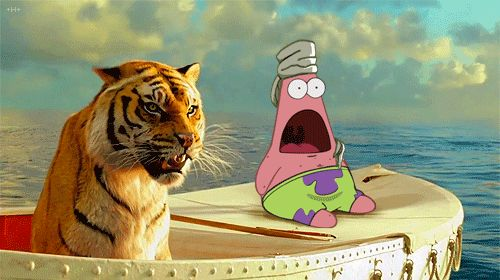 Patrick stuck with the tiger in Life of Pi. Spongebob