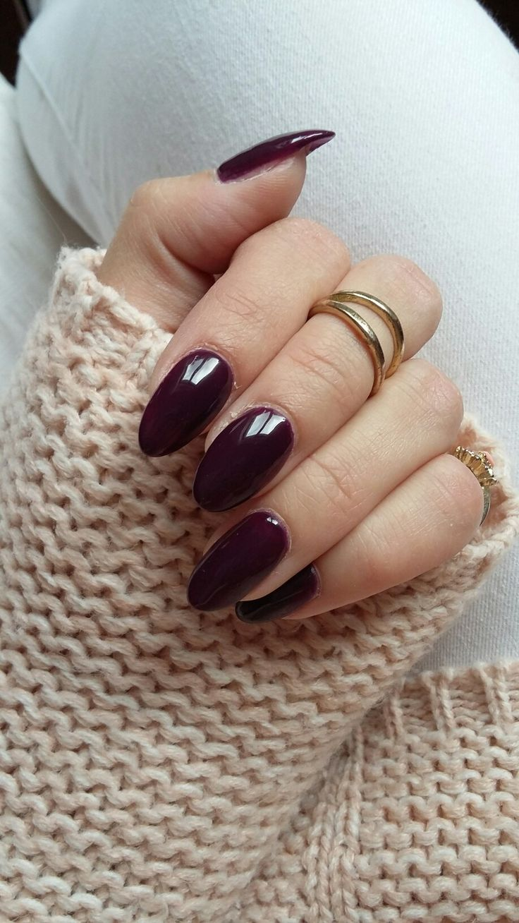 beautiful PLUM almond nails 'Gelly Nails Galway' on fb http://hubz.info/113/stunning-wedding-nail-art-desgins