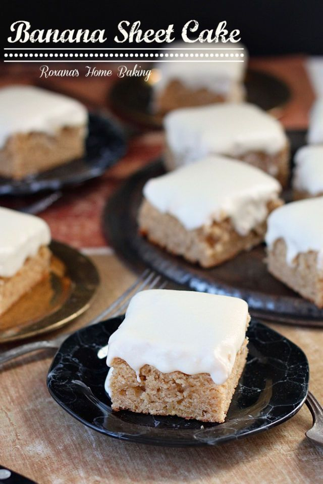 This banana sheet cake is like banana bread, in cake form, with frosting.