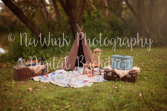 Outdoor Vintage Suitcase and Tent Digital Backdrop for