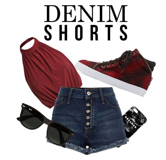 Denim Shorts by jenny-graudenz on Polyvore featuring polyvore fashion style Soda Ray-Ban Mr. Gugu & Miss Go clothing jeanshorts denimshorts cutoffs