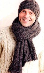 Вязаные шапка и шарф для мужчины спицами