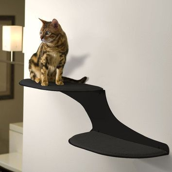 the refined feline the refined feline clouds wall mounted faux fur and metal cat perch