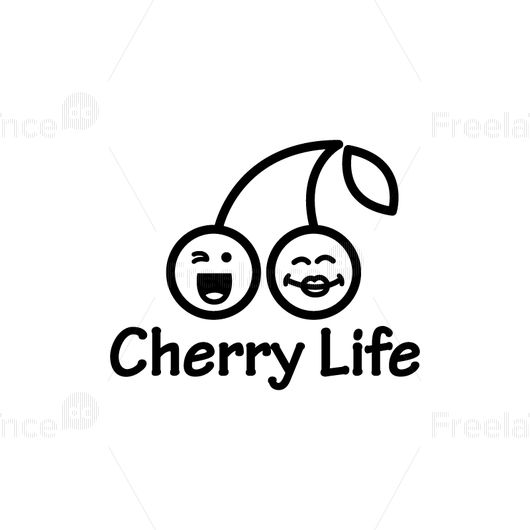 Logo in the form of two cheerful cherries Vector graphics.