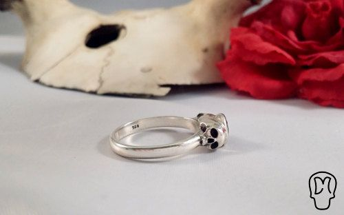 Half Jaw Sterling Silver Ring Red Stone by DMJewels on Etsy, €99.00