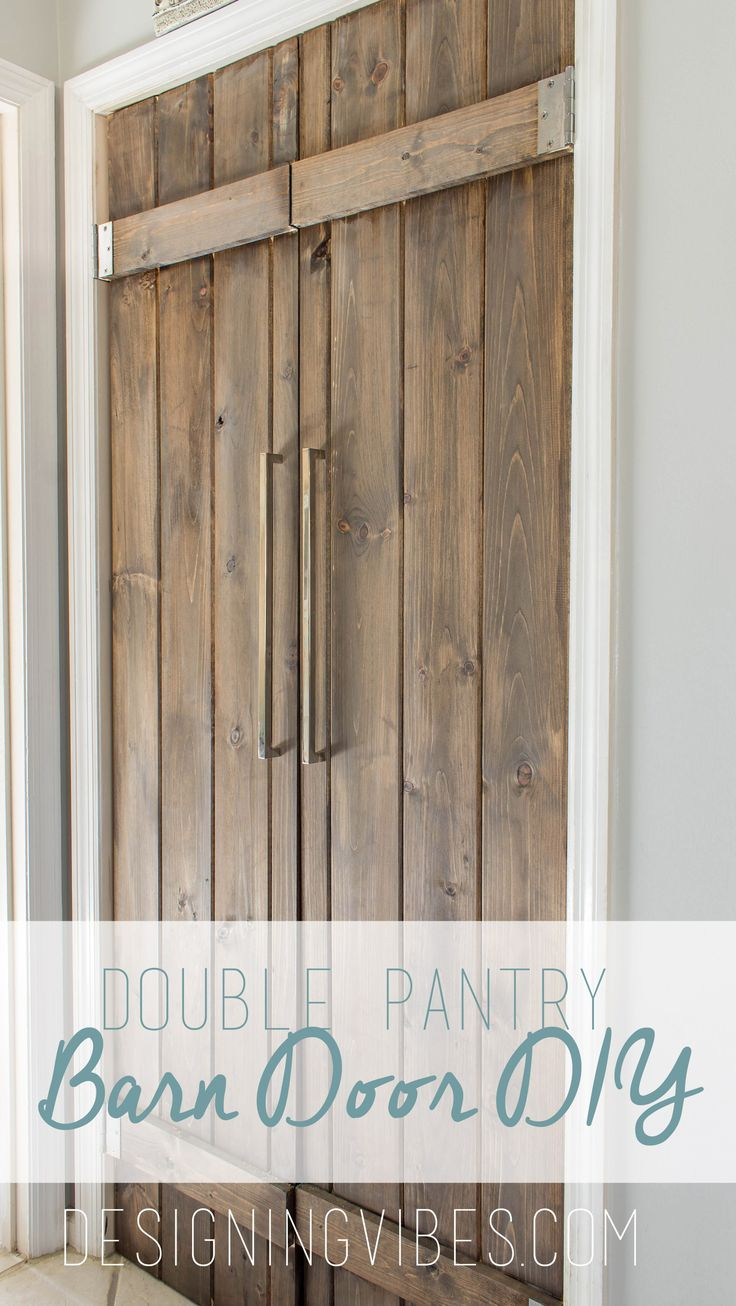 I am so happy to finally share with you my barn door DIY for replacing boring bi-fold doors .