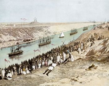 The opening of the Suez Canal on November 17, 1869