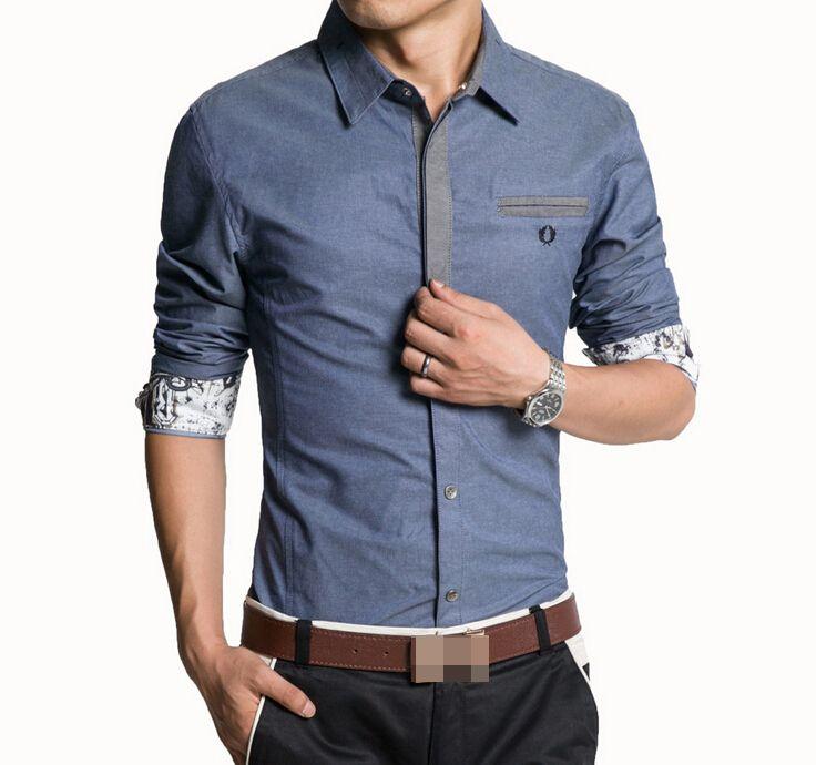 Мужчины рубашка джинсовые свободного покроя рубашки с длинным рукавом мода уменьшают мужские джинсы рубашки Большой размер Camisa джинсы мужской Masculina J2412