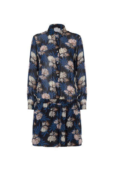 Ganni. Park Row Georgette Dress, Autumn Flower