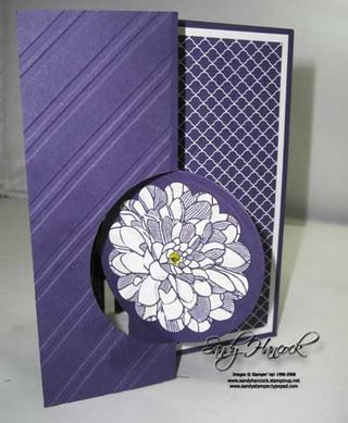 handmade greeting card ... Thinlit flip card ...  like the circle flip part at the bottom ...  Dalhia stamped three times, cut to different sizes and layered ... some glitter too ... like the embossed stripes ... monochromatic purple ... luv the details ... Stampin' Up!
