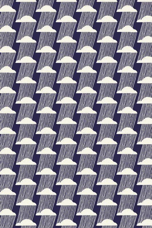 Flore Larrazet - Lac salé, rain, clouds, weather, pattern, print, design, geometric, abstract, navy, repeat