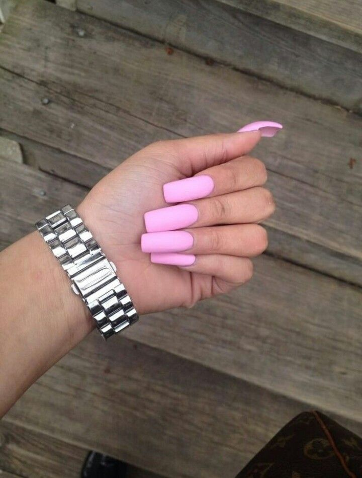 Matte Pink Square Tip Acrylic Nails