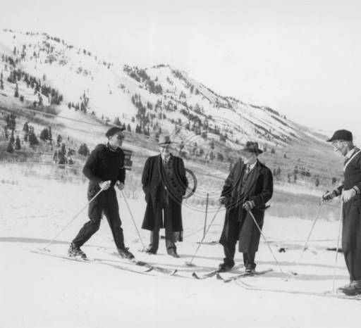 Sverre and Corey Engen teaching skiing at Snow Basin, circa 1942. ::   Univ of Utah - Multimedia Archives Photographs    Skiing, Ski, Utah, Ogden, Snowbasin, Snow Basin