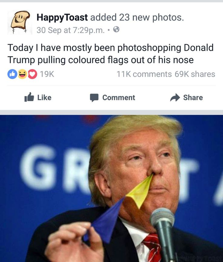Awesome pictures of Donald Trump pulling colored flags out of his nose by /u/precioushex