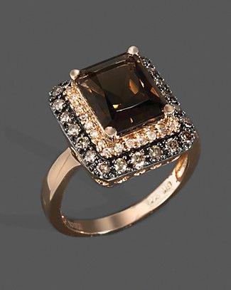 Diamond, Brown Diamond And Smoky Quartz Ring In 14K Rose Gold | Bloomingdale's