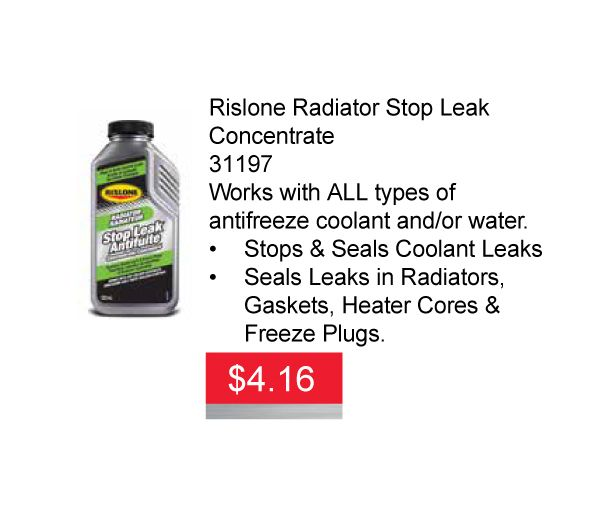Leaking rads suck! We have the perfect solution for you and it's on sale. Get Rislone Radiator Stop Leak Concentrate for only $4.16 ea until Feb 29, 2016. #Rislone #Radiator #StopLeak #Concentrate #RisloneRadiatorStopLeak #sale #deal #Hamilton #Stoneycreek #aadiscountauto #autopartsstore #leakingrad