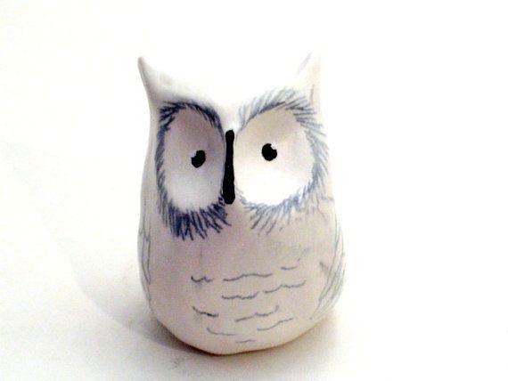 Snowy Owl Clay Ceramic Animal Sculpture Cute Owl