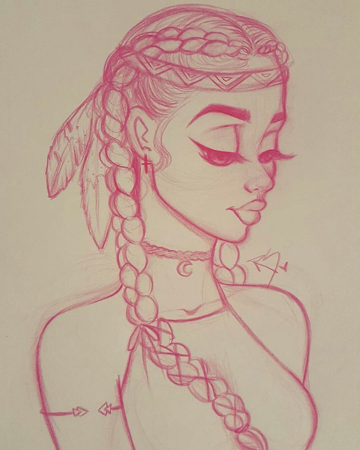 Native American, cute, simple drawing from Christina Lorre