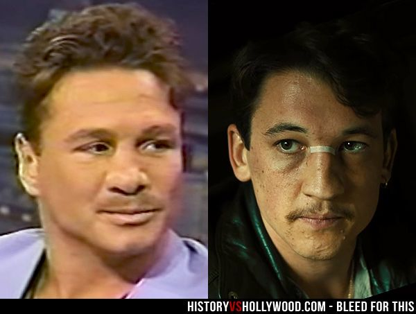 Boxer Vinny Pazienza, portrayed by Miles Teller in the Bleed for This movie. See pics of the real people behind the movie: http://www.historyvshollywood.com/reelfaces/bleed-for-this/