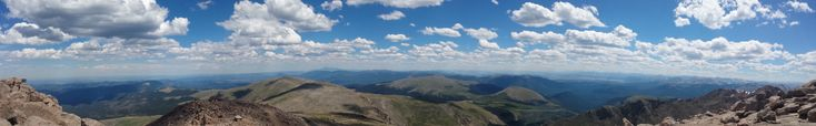 Panorama of view from Mount Evans Summit Colorado. Taken with my old S4 [2247x349]