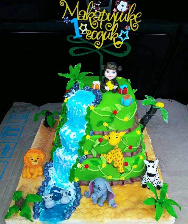 "торт""Джунгли"",торт на глдик мальчику,торт Макарчику,торт сыночку на годик"