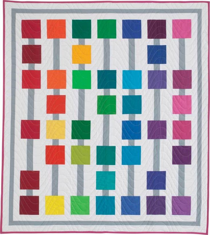 ABACUS QUILT KIT Charm pack lap quilt kit Designed by DIANE HARRIS Fabrics include a precut charm pack of Kona® Cotton Solids from Robert Kaufman in the Classic palette, along with white, gray and fuchsia solids