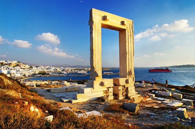 "Naxos, Greece the largest island in the Cyclades island group. The centre of archaic Cycladic culture. The Portata ""Great Door"" is most famous landmark of  Naxos. It is a massive 2,500-year-old marble doorway."