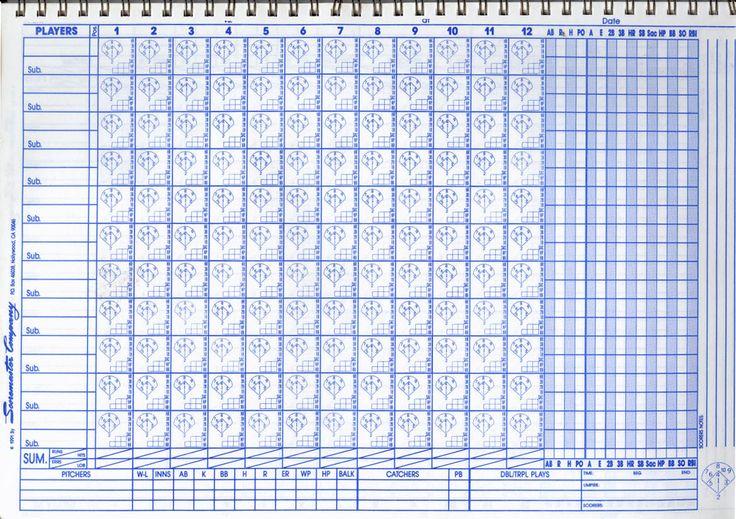 Free Baseball Score Sheets | This is a sample blank baseball scorebook