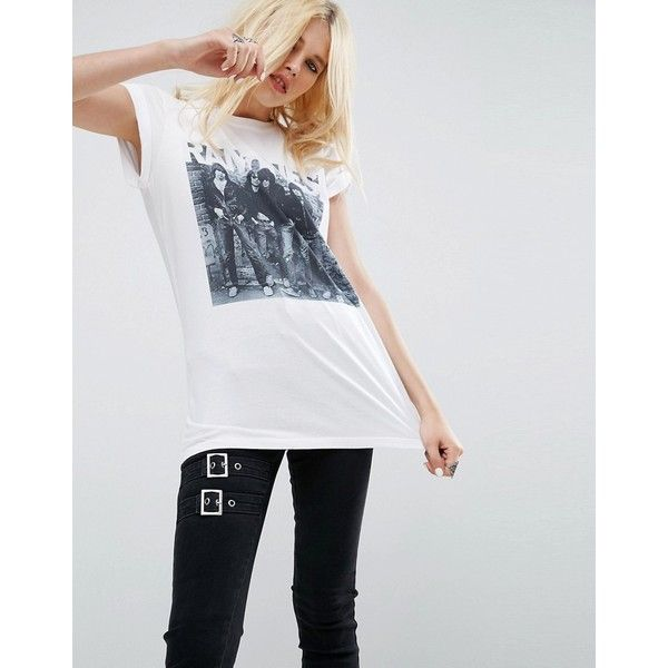 ASOS T-Shirt with Photographic Ramones Print ($15) ❤ liked on Polyvore featuring tops, t-shirts, white, crewneck tee, white t shirt, white tees, cotton tee and cotton t shirts