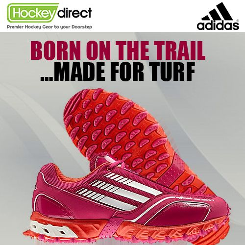 Born on the trail but made for turf, the Adidas Hockey Attack 02 Pink Shoe is specially designed for speed, grip & support. #Hockey Direct. #FieldHockey
