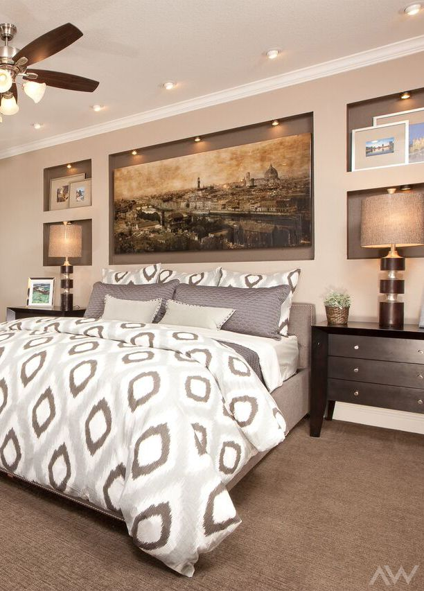Bring Your Artwork To Life With Speciality Lighting In The Shelves Of Master Bedroom