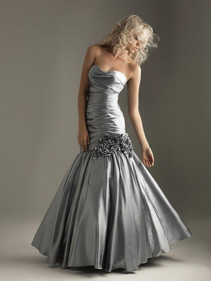 Meerjungfrau Silber Taft Formales Party Abend Ballkleid Brautjungfer Abend kleid