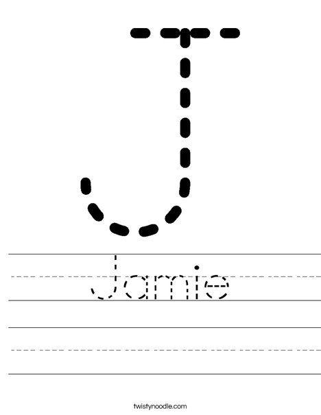 Jamie Worksheet - Twisty Noodle | Pre K Printables ...