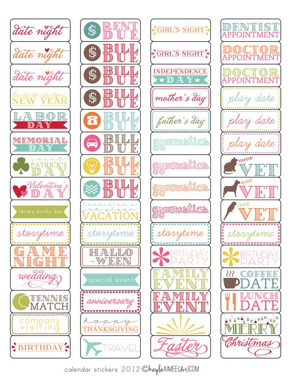 Free template + tutorial: Calendar Stickers (magnetic and sticky versions) @Angela Gray Gray Gilbert I think this is something you would enjoy!