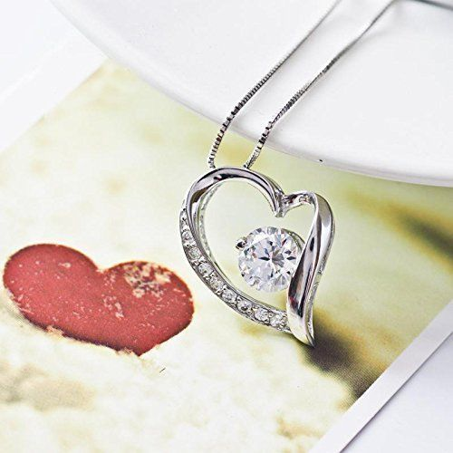 Valentines Day Gift Silver Plated Heart Shape Pendant Necklace w/Clear Gemstone #Generic